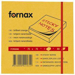 Blok samoljepljiv  75x75mm  80L Fornax neon-narančasti