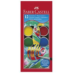 Boja vodena fi 30mm 12boja+kist Faber Castell 125012 blister