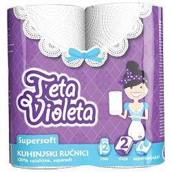 Ručnik papirnati jastučni 23cm dvoslojni pk2 Super Soft Violeta bijeli