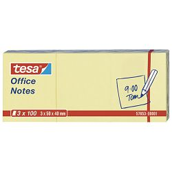 Blok samoljepljiv  40x50mm 3x100L Office notes Tesa 57653 žuti