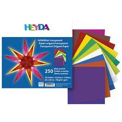 Papir Origami 20x20cm 40g pk250 Heyda 20-48755 21 prozirni sortirano