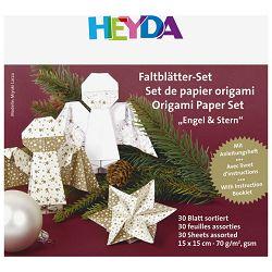 Papir Origami 15x15cm 70g pk30 Anđeo Heyda 20-48755 75 zlatno-bijeli