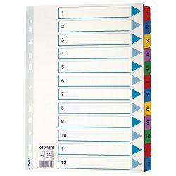 Pregrada kartonska A4 brojevi 1-12 kolor 12listova Esselte 100162