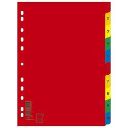 Pregrada plastična A4 brojevi 1-10 kolor Donau 7712095PL-99