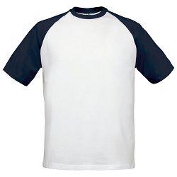 Majica kratki rukavi B&C Base-Ball 190g bijela/tamno plava S!!