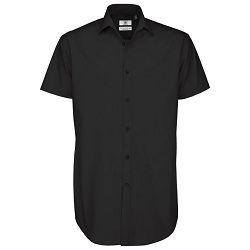 Košulja muška kratki rukavi B&C Black Tie 135g crna 3XL