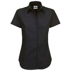 Košulja ženska kratki rukavi B&C Sharp 130g crna L!!