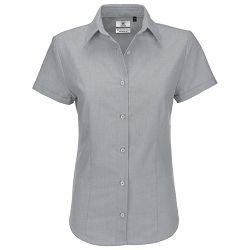 Košulja ženska kratki rukavi B&C Oxford 135g srebrna L!!