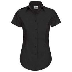 Košulja ženska kratki rukavi B&C Black Tie 135g crna 2XL