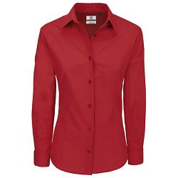 Košulja ženska dugi rukavi B&C Heritage 125g tamno crvena M!!