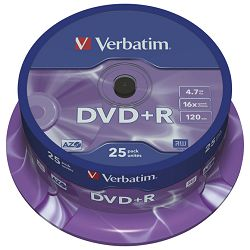 DVD+R 4,7/120 16x spindl Mat Silver pk25 Verbatim 43500