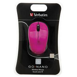 Miš usb 3tipke laserski bežični nano Verbatim 49043 rozi blister
