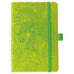 Notes Ivory  9x14cm karo s gumicom Elephant N6-636 zeleni!!
