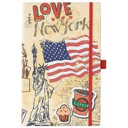 Notes Ivory  9x14cm karo s gumicom Traveller 05-008 New York!!