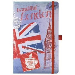 Notes Ivory  9x14cm karo s gumicom Traveller 05-010 London!!