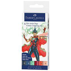 Flomaster Pitt artist  6boja Comic Colouring Faber Castell 267196 sortirano blister