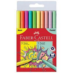 Flomaster školski  10boja Grip neon+pastel Faber Castell 155312 blister