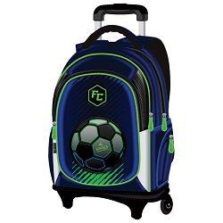 Ruksak školski s kotačićima Pro Football Connect plavo-fluo zeleni