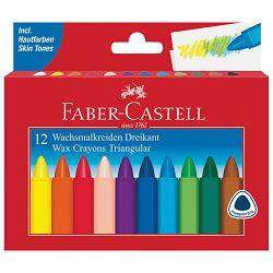 Boje voštane 12boja kartonska kutija trokutaste Faber Castell 120010 blister