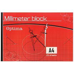 Blok milimetarski A4 OPTIMA 25l P10/80