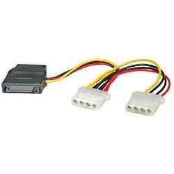 Roline interni Y-naponski kabel, SATA - 3×4-pin, 0.2m