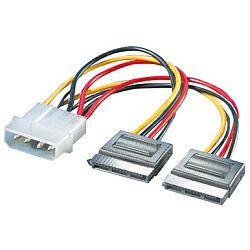 Roline interni Y-naponski kabel, 4-pin HDD - 2×SATA, 0.12m