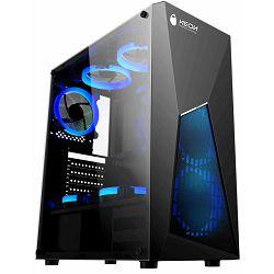 Kućište NEON Valkyre, plavi LED, prozirna bočna stranica, 2x USB 2.0, 1x USB 3.0, 3x 12cm plavi ring LED ventilator (2 naprijed, 1 straga), bez napajanja, crno