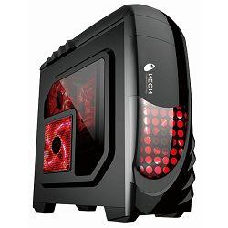 Kućište NEON Vanguard, prozor, 2x USB 2.0, 2x 12cm crveni LED ventilator (1 naprijed, 1 straga), bez napajanja, crno