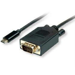 Roline VALUE USB-C - VGA kabel, M/M, 1.0m, crni