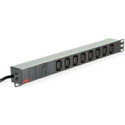 """Roline strujna priključnica 19"""", 8×IEC3200 C13-C14 M (UPS) priključak kabla, 2.0m, aluminium"""