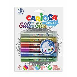 Ljepilo tekuće Carioca Classic Glitter 6 boja x 10,5ml, blister P6/24 42110