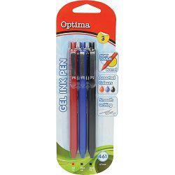 Gel pen 0,7 OPTIMA Soft Touch 461 3/1 plava+crna+crvena 100926 bls P12/144/1728