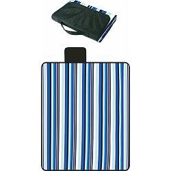 Deka za piknik Sigma flis s pvc podlogom, prugasta plava, 120x150 cm