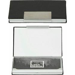 Etui za posjetnice Vapor crno srebrni, PU/metal, 11x7,5x2cm