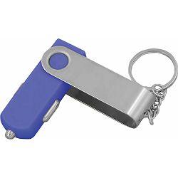 Punjač USB za auto 12V plavi na privjesku P50/300