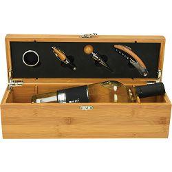 Set vinski Cipro, 4-djelni s pretincem za vino, bambus P1/8