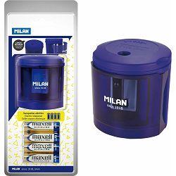 Šiljilo električno MILAN + 4 baterije blister plavo acid P12/36
