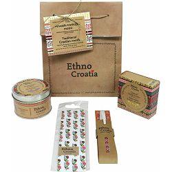 Poklon paket Ethno Croatia bijeli 1, sapun, svijeća, gel-pen, označivač