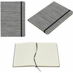 Notes Oxford A5 sivi tekstilni 96 str. s gumicom 14x21x1 cm P12/96