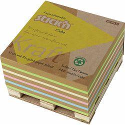 Blok samolj. STICK'N 76x76 kraft/recikl. sort boja na paleti 400L 21817 P12/72