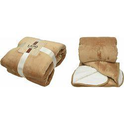 Deka od flisa i flanela Sherpa, smeđe bijela, 130x180g, 380g/m2