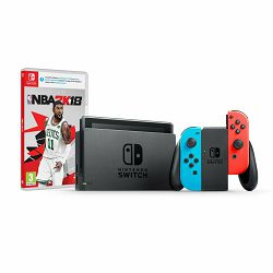 Nintendo Switch Console - Red & Blue Joy-Con HAD + NBA 2K18 Switch