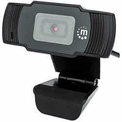 Manhattan Web Camera, 1080p, Full HD, USB, Integrated Microphone, Adjustable Clip Base, 30 fps, Black