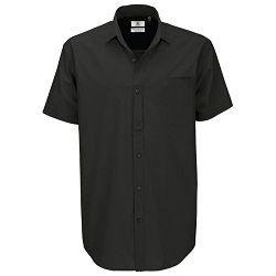 Košulja muška kratki rukavi B&C Heritage 125g crna M