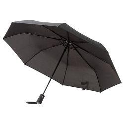 Kišobran automatik (otvaranje+zatvaranje na gumb) sklopivi s gumiranom drškom crni