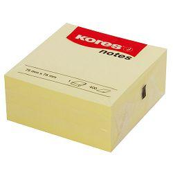 Blok kocka samoljepljiva 75x75mm, 400 listića,  žuta, Kores