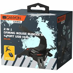 2 in 1 Gaming Mouse Bungee stand and USB 2.0 hub, 4 USB hub, 1.5m mircro to USB braided cable, Weighted design with non-slip grip, LED light, Black, size:128*123*102mm, 138g