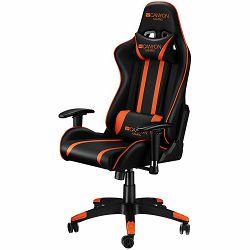 Gaming chair, PU leather, Cold molded foam, Metal Frame, Top gun mechanism, 90-165 dgree, 2D armrest, Class 4 gas lift, Nylon 5 Stars Base, 60mm PU caster, black+Orange.