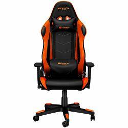 Gaming chair, PU leather, Original foam and Cold molded foam, Metal Frame, Top gun mechanism, 90-165 dgree, 3D armrest, Class 4 gas lift, Nylon 5 Stars Base, 60mm PU caster, black+Orange.