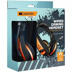CANYON Gaming headset 3.5mm jack with adjustable microphone and volume control, with 2in1 3.5mm adapter, cable 2M, Black, 0.23kg